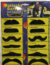 12pc Self Adhesive Black Fake Moustache Costume Stylish  Party Fancy Dress Up