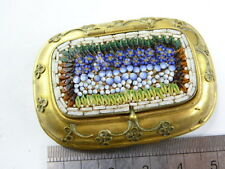 Antique  plated metal micro mosaic snuff  trinket box