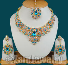Bollywood Gold Tone Diamante Kundan Jewelry Necklace Earrings Set S21 Turquoise