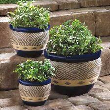 3 size lot BLUE ceramic southwest chevron garden patio planter plant flower pot