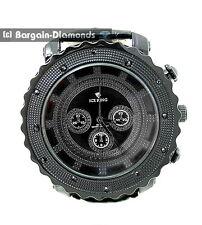 mens big black-on-black textured hip hop black-CZ ice out bling watch 9-inch bla