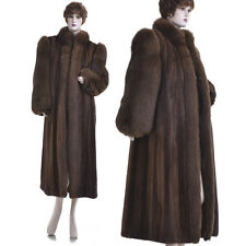 LKNW! Top Quality Chocolate Brown Mink Fur with Fox Fur Full-Length Coat