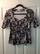 Postmark Anthropologie Black & White Floral Lace Print Top, Size Small