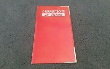 1977 1978 RENAULT 20 TS UK SMALL FOLDER BROCHURE