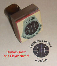 Basketball Rubber Stamp With Your Custom Team & Player