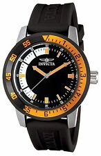 NEW Invicta 12848 Men's Specialty Orange Dial Black Polyurethane Watch hipster