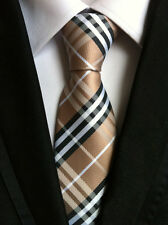 New Classic Checks Brown White JACQUARD WOVEN 100% Silk Men's Tie Necktie