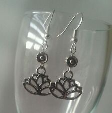 925 Sterling Silver Hook Lotus Flower Dangle Charm Fashion Earrings