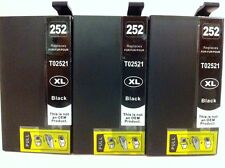 3PK T252XL Black Ink Cartridge for Epson WorkForceWF3620/WF3640/WF7110/7610/7620