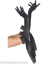 Halloween Gothic Vampiress Vamp Black Long Satin Gloves With Bow Fancy Dress