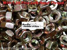 (1) M10-1.25 Left Hand Fine Thread Hex Nuts Grade 8.8 Steel 10mm With 17mm Hex