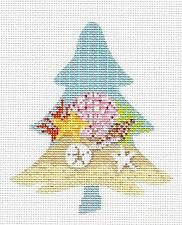*NEW* Seashore Shells Tree handpainted Needlepoint Ornament Canvas Kelly Clark