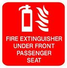 100X100MM FIRE EXTINGUISHER UNDER FRONT PAS SEAT STICKER MINIBUS TAXI BUS COACH
