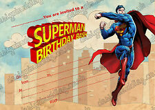 Superman super hero kids birthday party invitations pack 10 thick cards