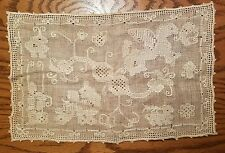 Vintage Filet Lace Openwork Mythical Creatures Sampler 16.5x10.5 Italian?