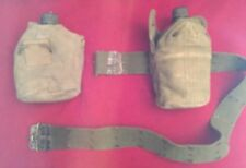 Vintage WWII 1945 US GP&FCO Army Canteen with Canvas Case, Strap and Belt