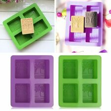 DIY 4 Cavity Tree Fondant Silicone Mold For Chocolate Cake Mould Soap Mould
