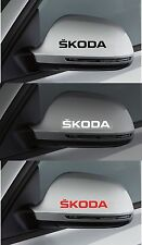 2 x SKODA Wing Mirror -  CAR DECAL STICKER ADHESIVE - FABIA OCTAVIA - 100mm long