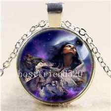 Tribe Woman And Wolf Cabochon Glass Tibet Silver Chain Pendant Necklace