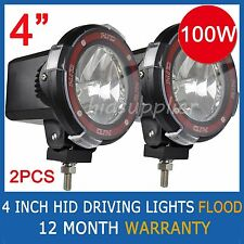 "2 Pcs 100W 4"" HID XENON Driving Lights EURO Flood Beam 4 INCH OFFROAD Spotlights"