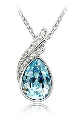Elegant & Stylish Silver & Sky Blue Crystal Angel Wings Pendant Necklace N144