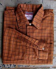 Vtg 60s Mens Brown Plaid Sheer Rockabilly Hippie Hipster Long Sleeve Shirt L 16