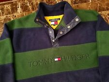 Tommy Hilfiger Vintage 90s Fleece Jacket sz M Spell Out Big Logo Colorblock