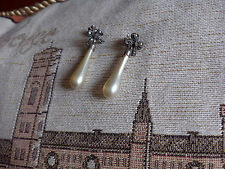 Art Deco Nouveau Vintage Silver Faux Pearl Marcasite Bow Drop Earrings RARE!