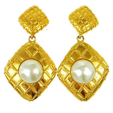 "Auth CHANEL Vintage CC Logos Imitation Pearl Earrings Clip-On 1.4 - 2.8 "" V11028"