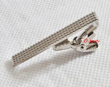 Men Silver Classical STAINLESS STEEL Skinny Grids Party Wedding Tie Clip Pin Bar