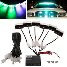 18LED Vehicles Emergency Warning Strobe Flash Deck Dash Grill Lights Green&White