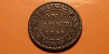 1859 Canada Large Cent Coin - NEAR & LOW 9! - Victoria Canadian Penny
