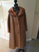 "Lady Stanley VINTAGE  WOOL Camel 1960'S SWING ORIGINAL COAT JACKET 53"" Chest"