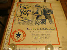 Vintage ORIGINAL Poster: WWI NY Will Give one day's pay UNITED WAR WORK morgan