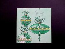 Vintage Unused Gibson Xmas Greeting Card Ornate Holiday Ornaments in Green