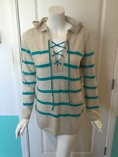 Autumn Cashmere Striped Hooded Lace Up Sweater  In Beige And Turquoise Size S