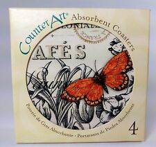 CounterArt  Vintage Floral Butterfly Absorbent Coasters 4 Set French Cafe Tile