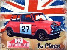 Mini Rallye Monte-Carlo Oldtimer Rennen Union Jack Großes Metall/Zinn-zeichen