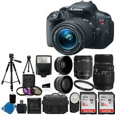 Canon Eos Rebel T5I Camera 4 Lens 18-55mm STM + Sigma 70-300 DG + 24GB Top Kit