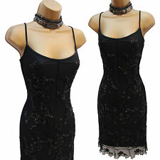Karen Millen Black Vintage Beaded Gatsby Flapper Downton Cocktail Dress 12 UK