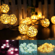 20 LED Rattan Ball String Lights Home Lamp Wedding Party Xmas Decor Warm White