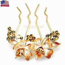 @Stunning@Austrian Crystal Flower Hair Comb Slide clip easy wear gift for her