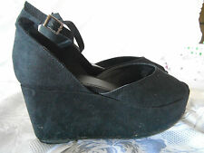 Ladies Therapy Black Micro Suede Wedges Size 10