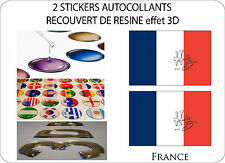 2 X STICKERS COVERED RESINATED WINE FLAG 3D EFFECT 70 mm X 50 mm FRENCH