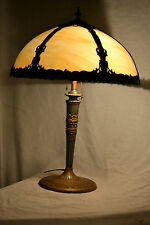 ANTIQUE VICTORIAN ARTS & CRAFT CARMEL SLAG STAINED GLASS LIGHT LAMP SHADE