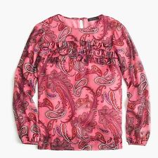 $118 NWT J CREW Pink Paisley Ruffle-Front Chiffon Top Blouse SPRING CHARM XS 2