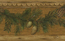 Pine Cone with Pine Needles Swag on Decorative Faux Wood Border 51672920