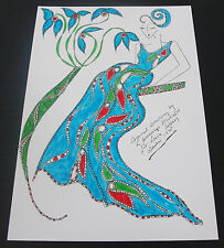Roz Jennings Fashion Drawing Original Art Work Illustrator Laura Ashley 1970 A22