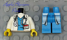 NEW Lego Minifig White DOCTOR TORSO & LEGS - Hospital Nurse Stethoscope Lab Coat