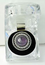 Rope Detail Ring with Purple Stone and Crystal Style Acrylic Presentation Box